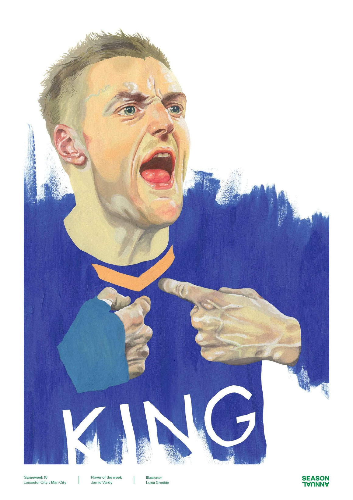 Season Annual A3 poster of Jamie Vardy scoring for Leicester City