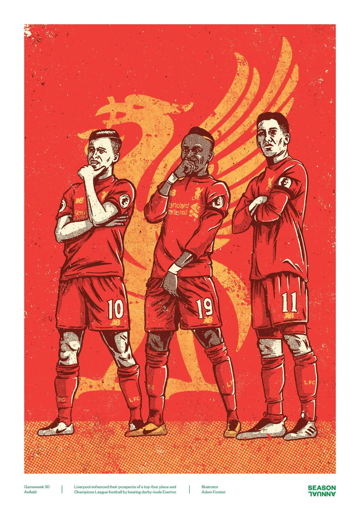 Season Annual A3 poster of Sadio Mané, Coutinho and Firmino for Liverpool