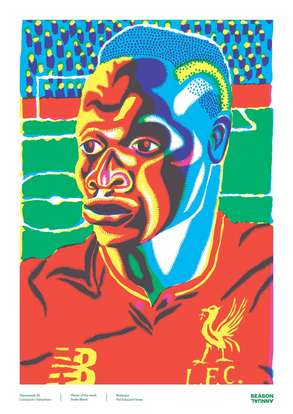 Season Annual A3 poster of Sadio Mané for Liverpool
