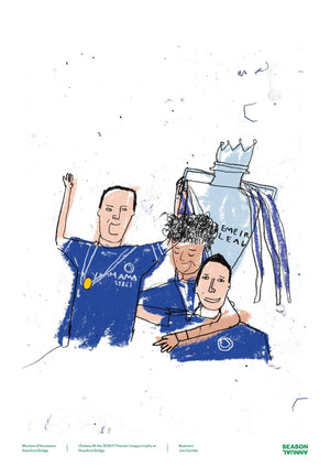 Season Annual A3 poster of the Chelsea squad celebrate winning the Premier League