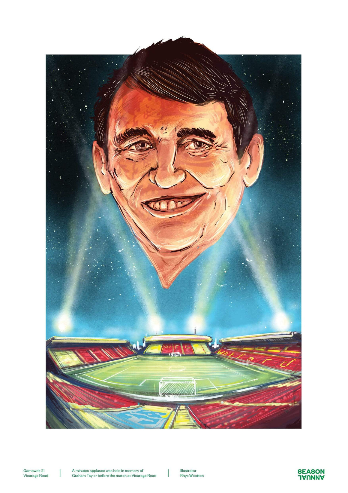 Season Annual A3 poster of the late Watford manager Graham Taylor
