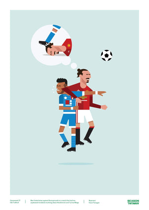 Season Annual A3 poster of Zlatan wrestling Tyrone Mings for Manchester United