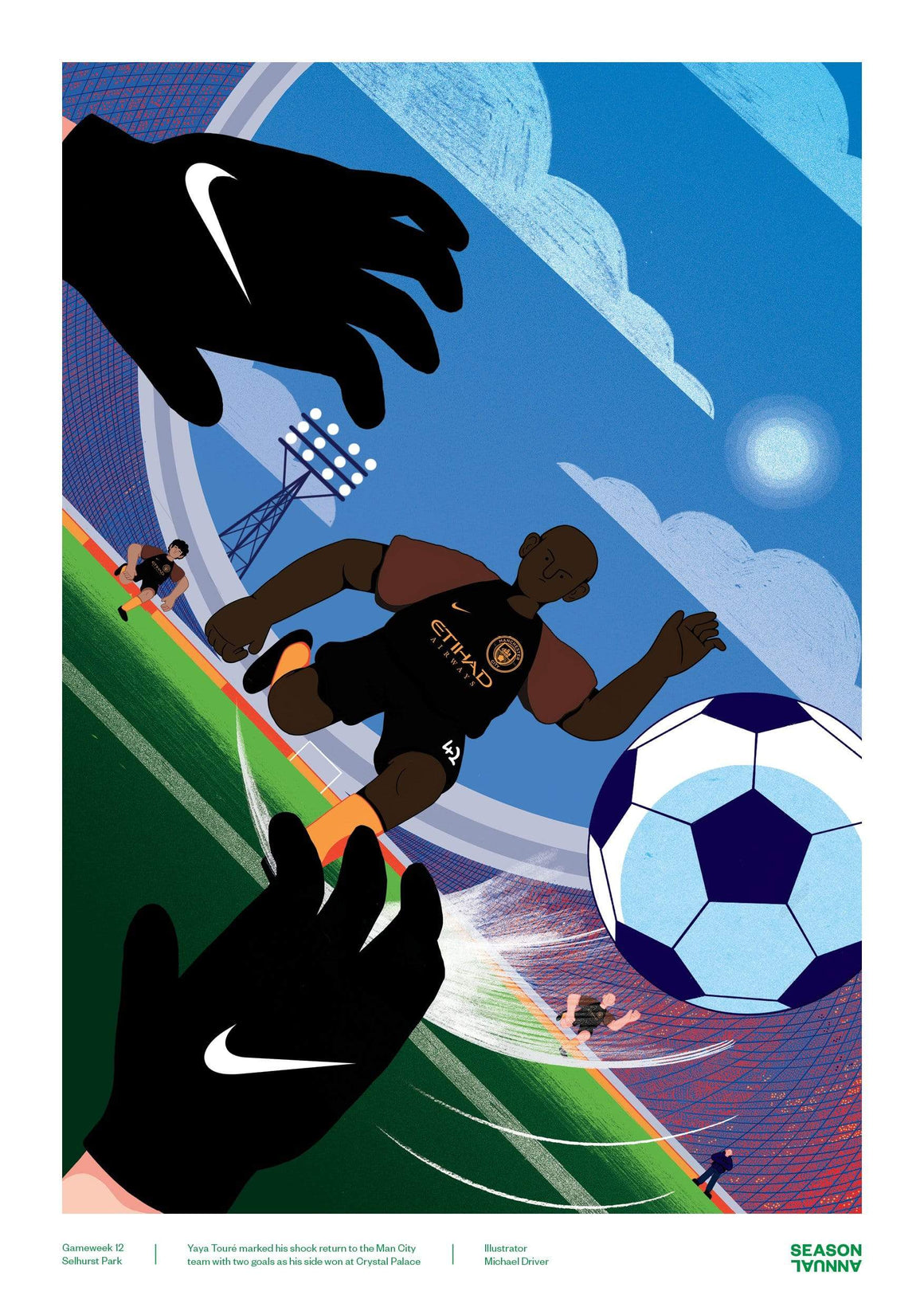 Yaya Toure Manchester City poster - Football Shirt Collective
