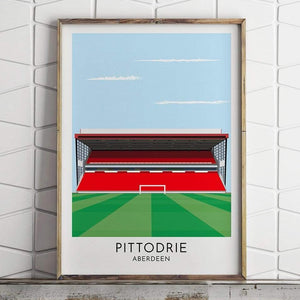 Turf Football Art Aberdeen - Pittodrie - Contemporary Stadium Print