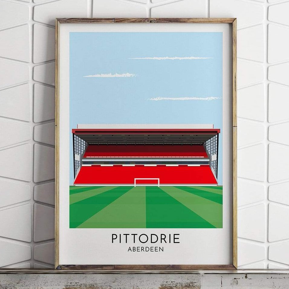Aberdeen - Pittodrie - Contemporary Stadium Print - Football Shirt Collective