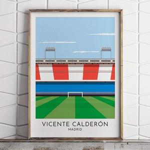 Atletico Madrid - Vicente Calderon - Contemporary Stadium Print - Football Shirt Collective