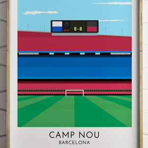 Turf Football Art Barcelona - Camp Nou - Contemporary Stadium Print