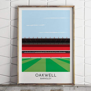 Barnsley - Oakwell - Contemporary Stadium Print - Football Shirt Collective