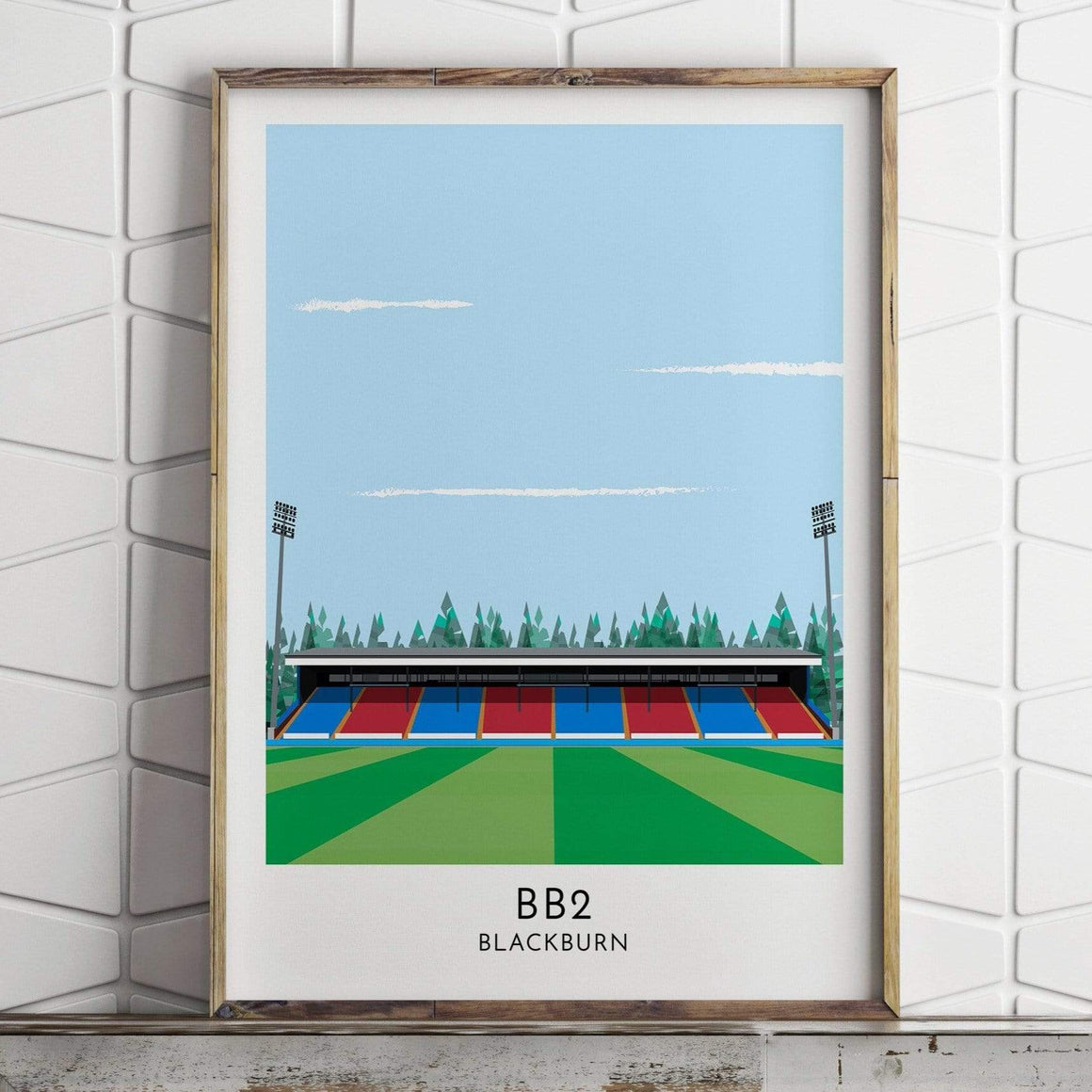 Turf Football Art Blackburn Rovers - Ewood Park - Contemporary Stadium Print