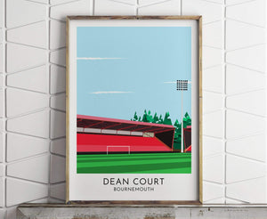 Turf Football Art Bournemouth - Dean Court - Contemporary Stadium Print