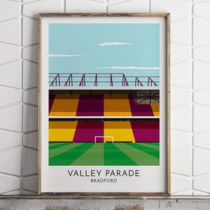 Bradford City - Valley Parade - Contemporary Stadium Print - Football Shirt Collective
