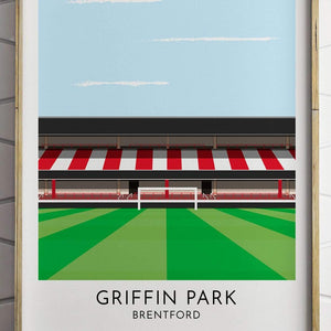 Brentford - Griffin Park - Contemporary Stadium Print - Football Shirt Collective