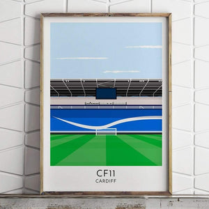 Cardiff - Cardiff City Stadium - Contemporary Stadium Print - Football Shirt Collective