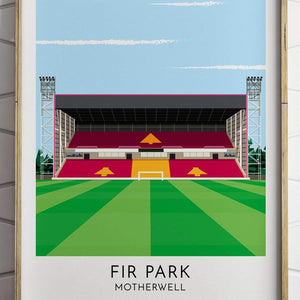 Turf Football Art Motherwell - Fir Park - Contemporary Stadium Print