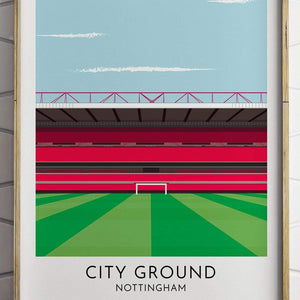 Turf Football Art Nottingham Forest - City Ground - Contemporary Stadium Print