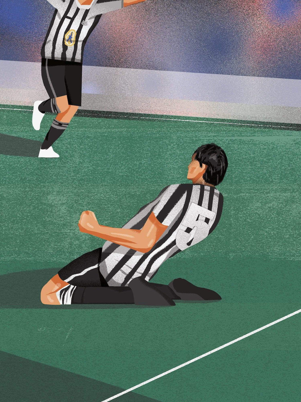 Philippe Albert, Knee Slide, Newcastle United A3 print - Football Shirt Collective