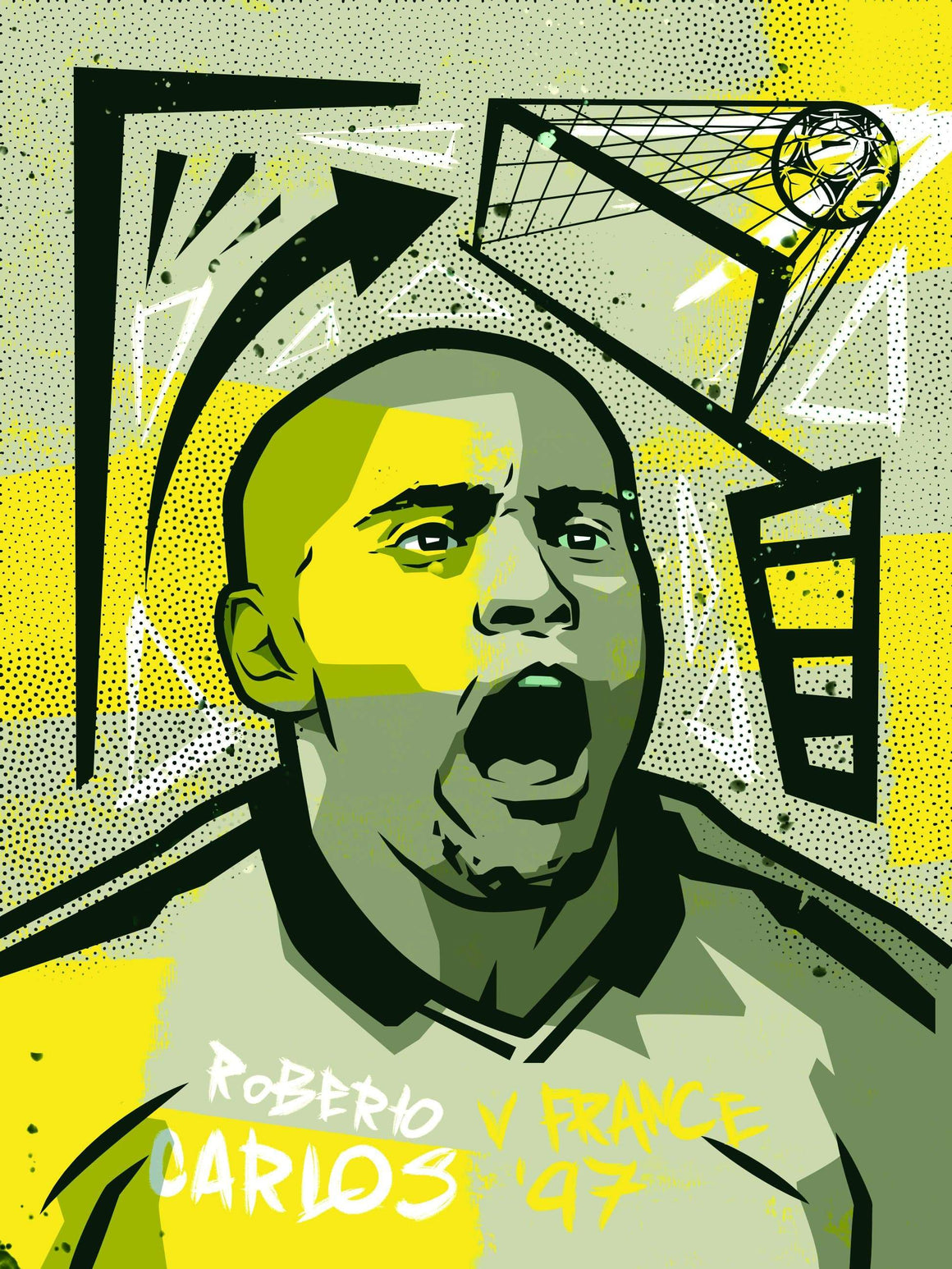 Roberto Carlos Brazil A3 print - Football Shirt Collective