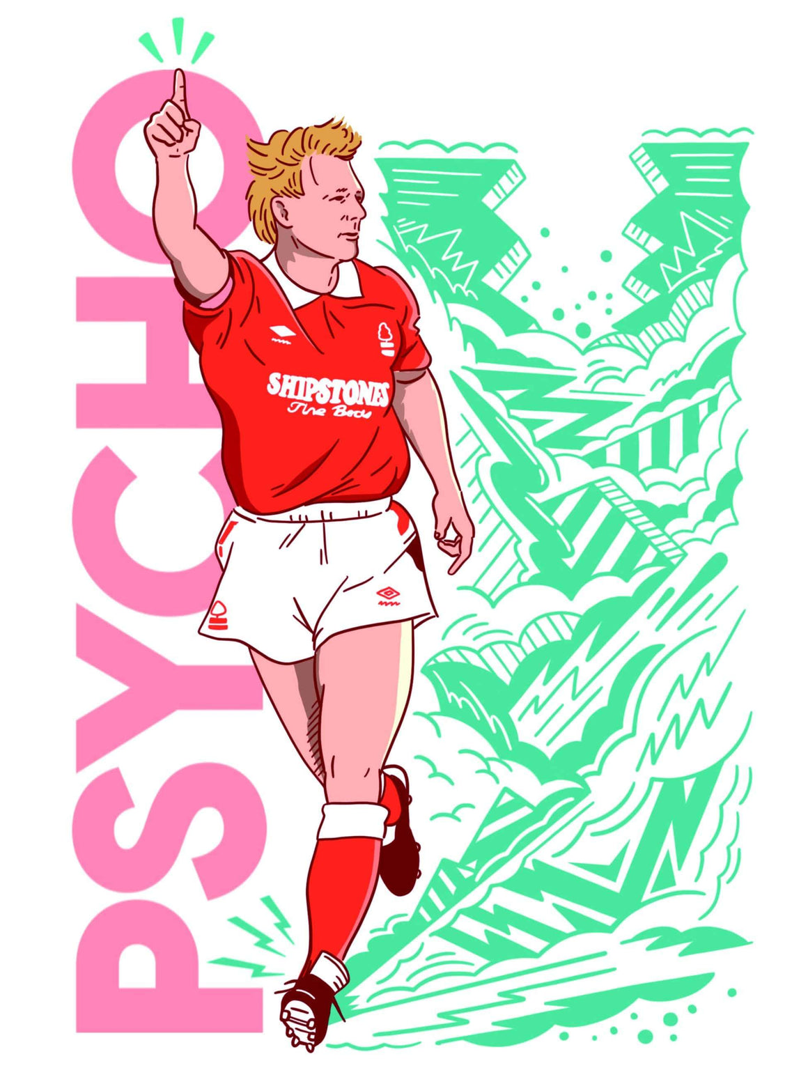Stuart Pearce x Nottingham Forest A3 print - Football Shirt Collective