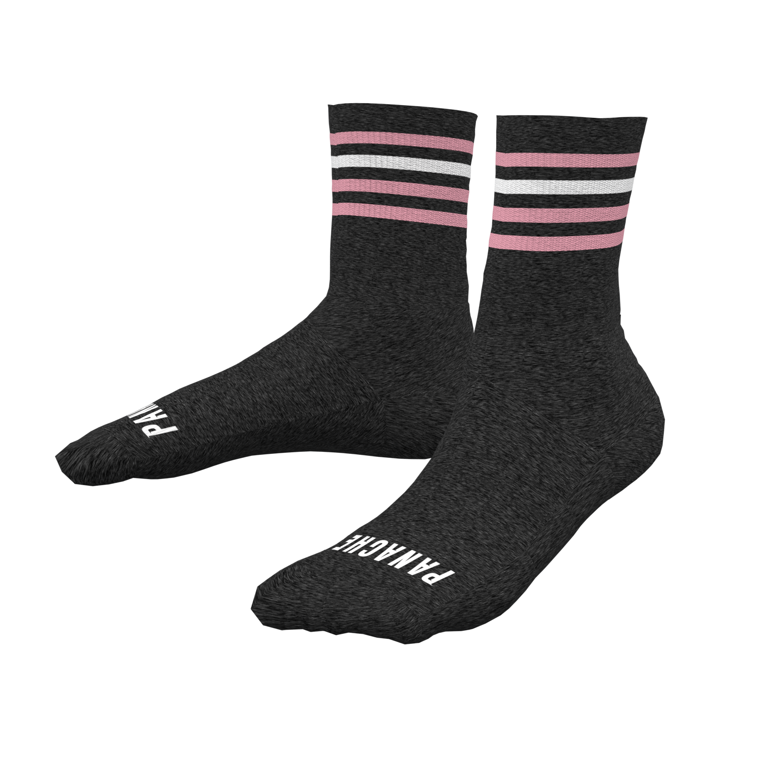 Growdy Merino Wool Socks - CHARCOAL with Pink/White stripes