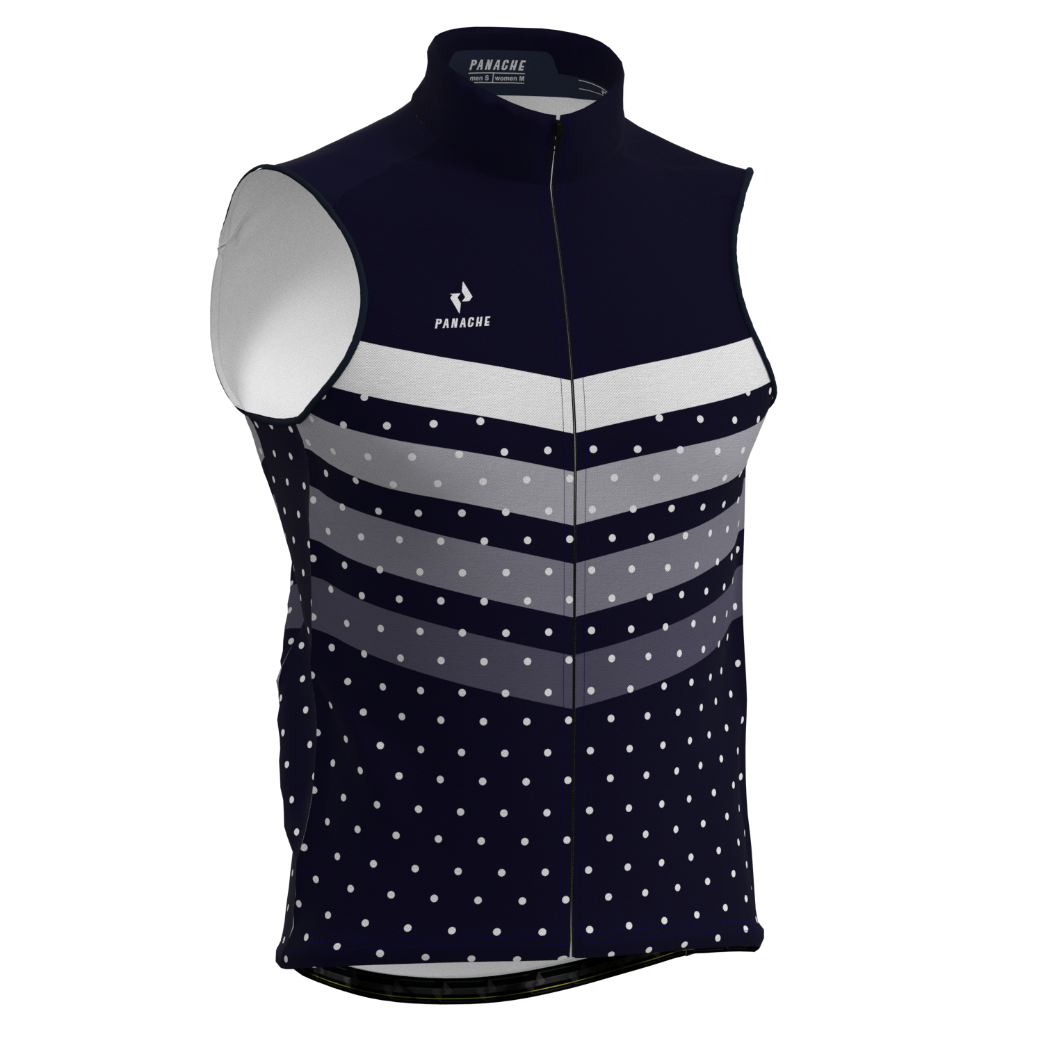 M's and W's Pro Thermal Vest - Midnight Blue Polka