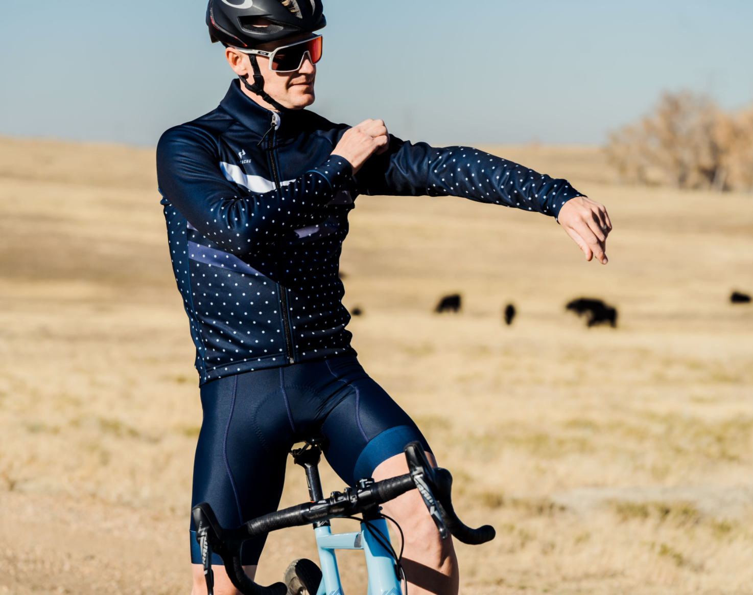 M's and W's Pro Thermal Jacket - Midnight Blue Polka