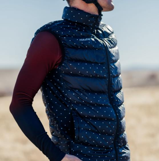 Vert Puffy Goose-Down Riding Vest - Midnight Blue Polka