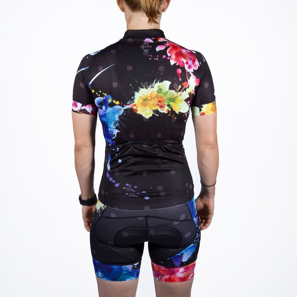 Womens Flower Splatter Bib Short