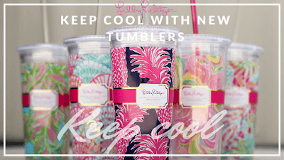 A beauty shot of several Lilly Pulitzer beverage tumblers, with graphic text by A Cut Above encouraging the viewer to keep cool.