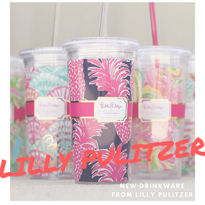 A graphic by A Cut Above showing new Lilly Pulitzer beverage tumblers.