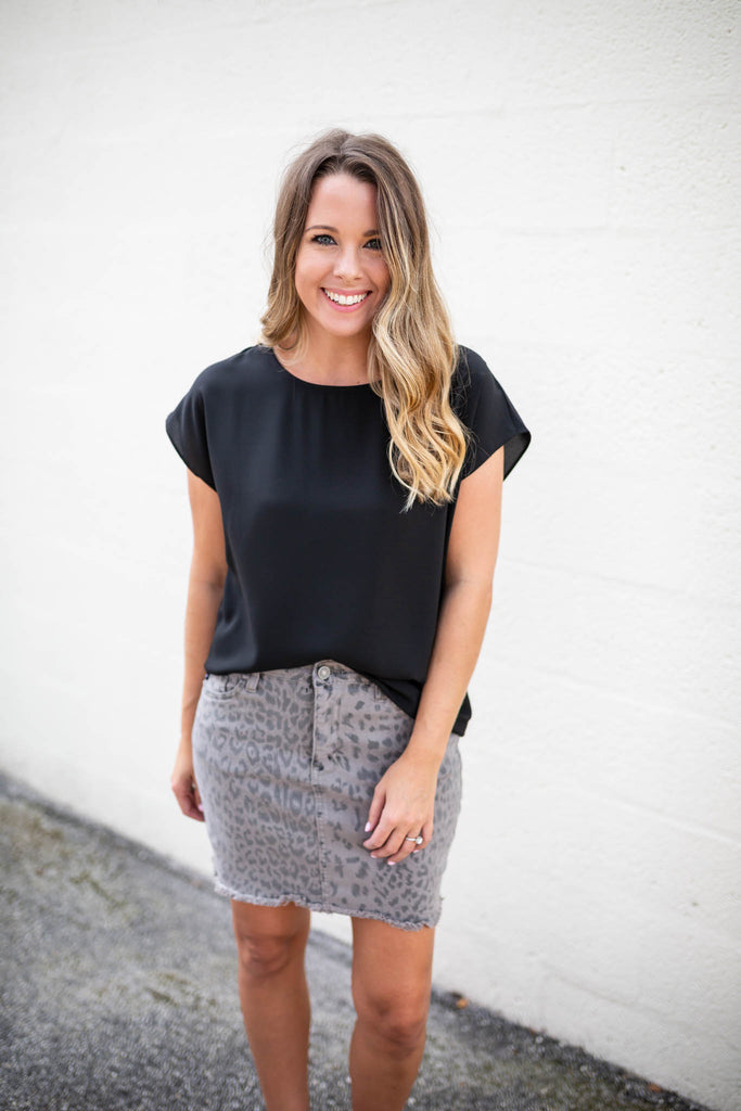 Leopard Jean Skirt - A Cut Above Boutique
