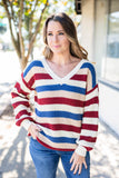 Varsity V-Neck Sweater - Ivory - A Cut Above Boutique
