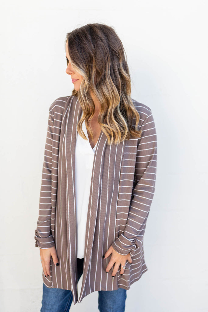 Lost It Stripe Mocha Cardigan - A Cut Above Boutique