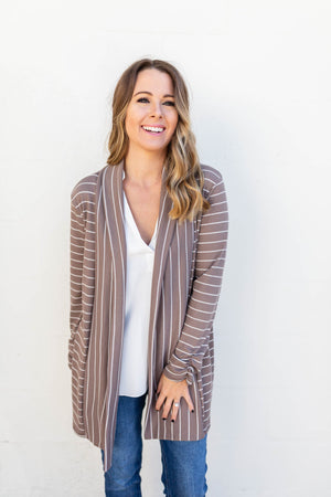 Lost It Stripe Mocha Cardigan