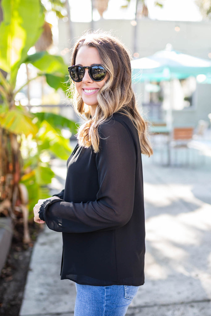 Midnight Calls Button Blouse - A Cut Above Boutique