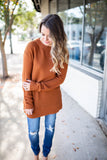 Now Or Never Sweater - Rust - A Cut Above Boutique
