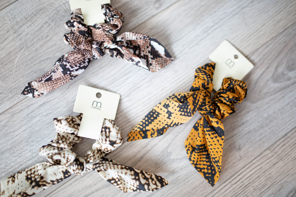 Snakeskin Scrunchie Scarf - Multiple Colors - A Cut Above Boutique
