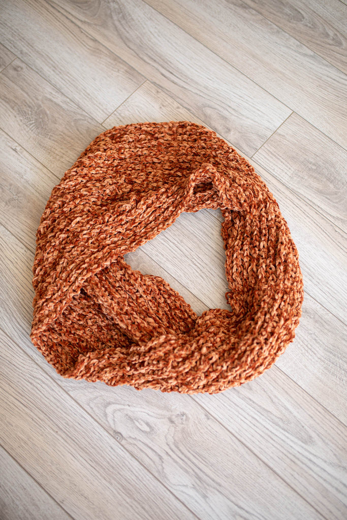 chenille Infinity Scarf - Rust - A Cut Above Boutique