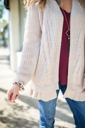 Ruffle Bottom Cardigan - Cream - A Cut Above Boutique