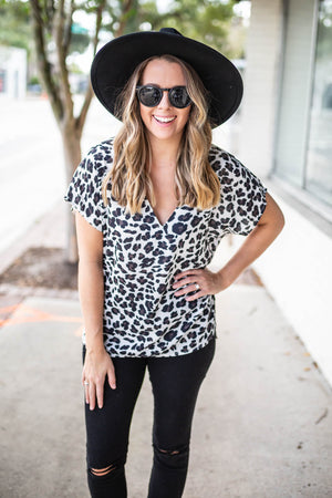 City Dreamer Leopard Blouse - Ivory - A Cut Above Boutique