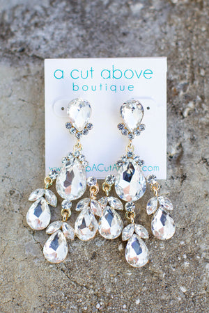 To The Max Rhinestone Dangle Earring - A Cut Above Boutique