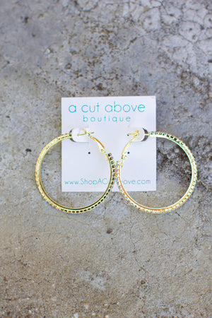 Rhinestone Gold Hoop - A Cut Above Boutique