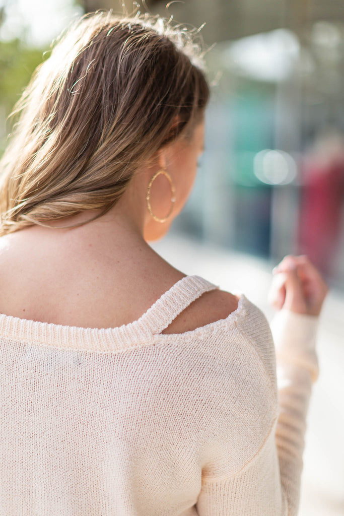 Cut It Out Sweater - Light Cream - A Cut Above Boutique
