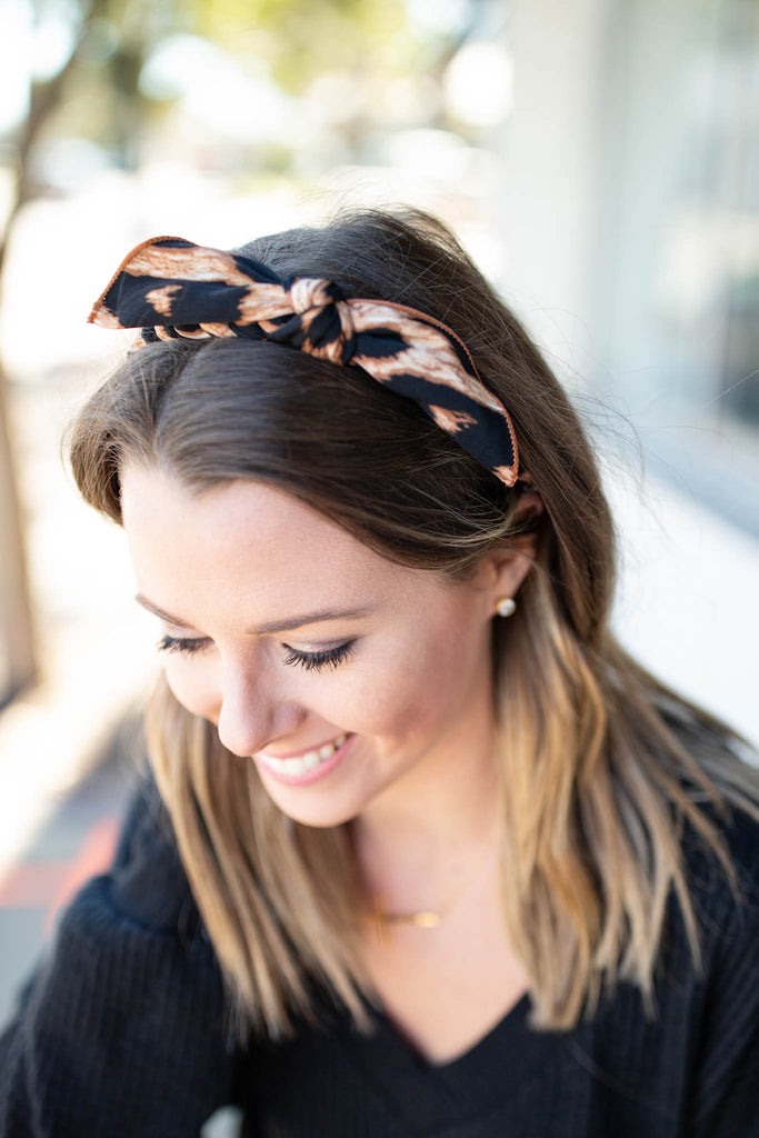 Leopard Braided Bow Headband - A Cut Above Boutique