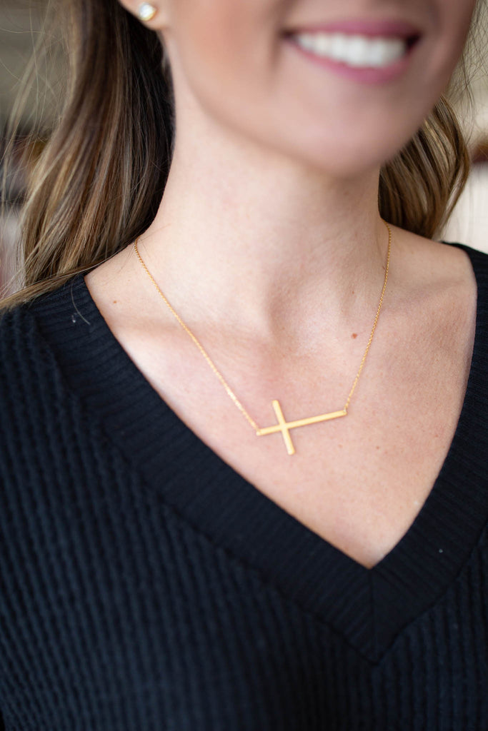 Large Gold Sideways Cross Necklace