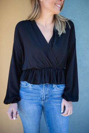 Come With It Ruffle Crop - Black - A Cut Above Boutique