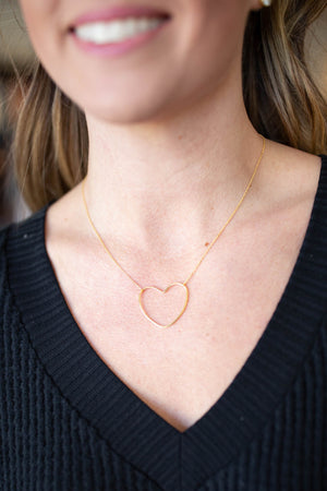 Dainty Heart Necklace - Gold - A Cut Above Boutique
