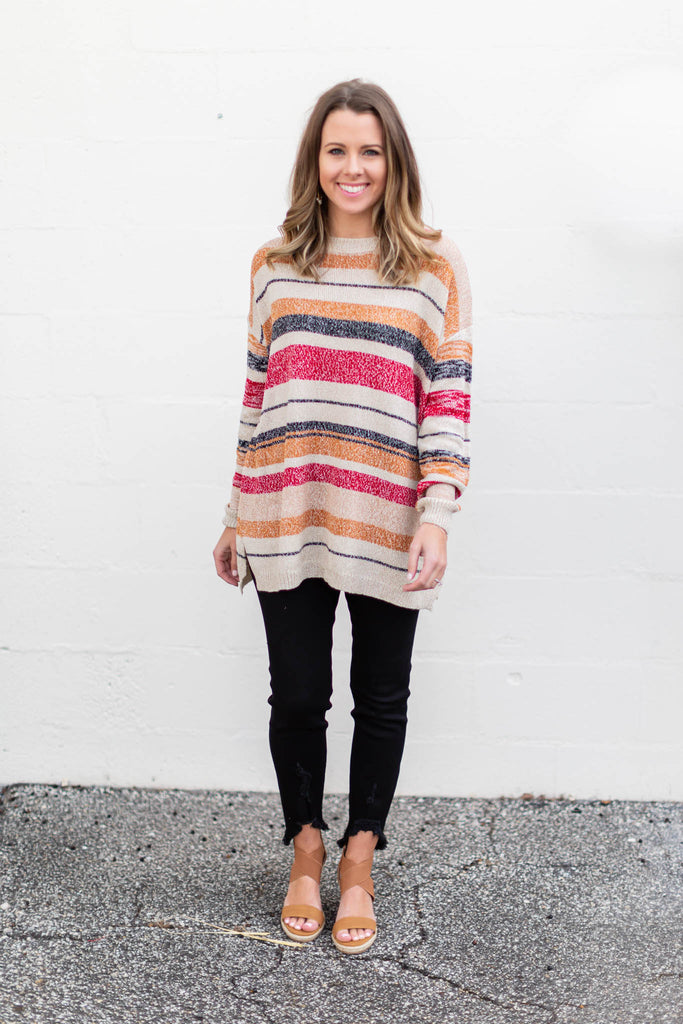 Play It Cool Stripe Sweater - A Cut Above Boutique