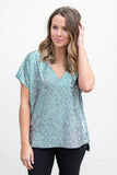 Up All Night Sparkly V-Neck Blouse - A Cut Above Boutique
