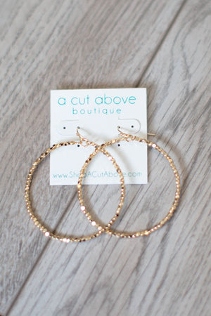 Shine On Gold Beaded Hoop - A Cut Above Boutique
