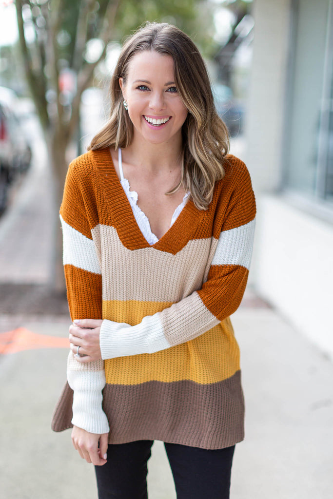 So Grateful Stripe Sweater - Neutrals - A Cut Above Boutique